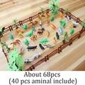 2016 New 68 pcs Hard Plastic Wild Animals Figures Set + Tree Dinosaur horse Toys Kid Child nontoxic PVC Model Action Toys Kits