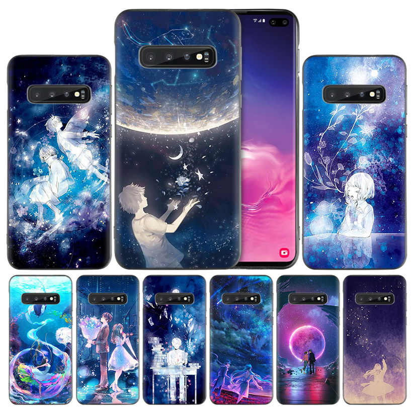 Starry Day Anime  Black Silicone Case Cover for Samsung Galaxy S10 S10e 5G S9 S8 S7 S6 Edge J8 J6 J5 J4 Plus 2018