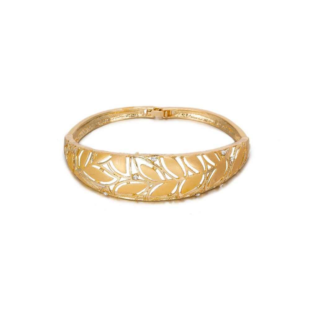 MUKUN золото Цвет комплект ювелирных изделий для Для женщин свадебные листья Цепочки и ожерелья серьги ювелирные изделия Дубай африканские бусы вечерние аксессуары