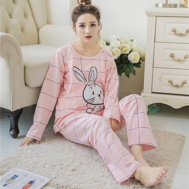 Clothes sets for Breastfeeding pregnant woman nursing nightgown Suit ...