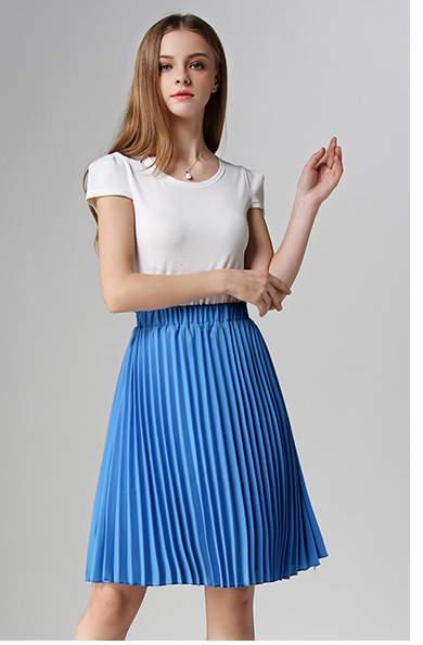 US $9.17 40% OFF|ANASUNMOON kobiety szyfonowa, plisowana spódnica w stylu Vintage wysokiej talii spódnice Tutu kobiet Saia Midi Rokken 2016 lato styl