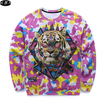 newest listing youth brand 3D tiger head printed hoodies boys teens Spring Autumn thin sweatshirts big kids sweatshirts W11