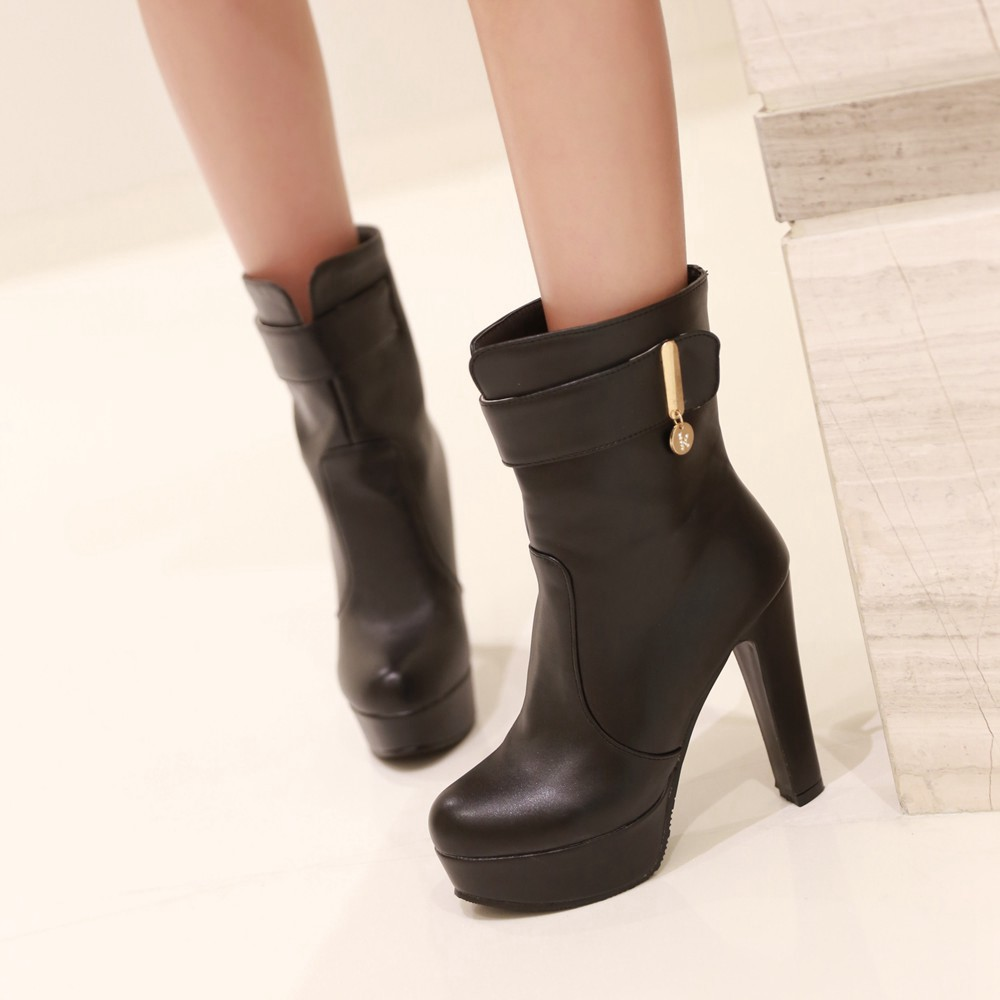 2014 Fashion Vintage Style Thick Platform Ankle Boots For -9714