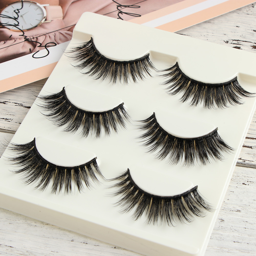 3 Pairs Thick Long False Eyelashes Set Natural Cross Cilia Make up Tool Mink Hair Fake Eye Lashes Makeup Extension Tools F5