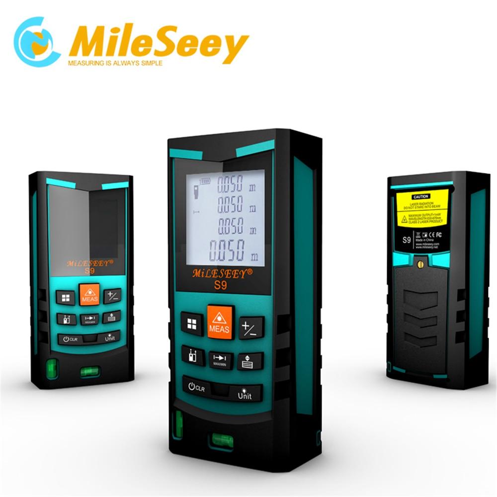 Mileseey S9 60 m Ferramenta De Medição do Medidor de Distância A Laser telêmetro Laser Azul com Bolha Dupla
