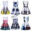 Весна цветочный принт ну вечеринку девочки-подростки платья подростки платье novia-принцеса эльза принцесса софия платье девушка детей 12 14 16 лет