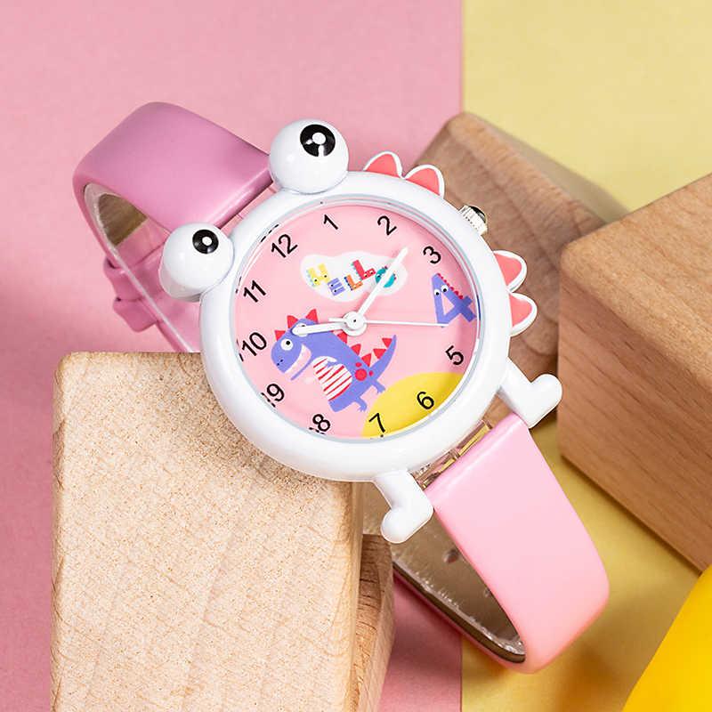 KDM 2019 słodkie zegarek dla dzieci zegarek dla dzieci dziewczyny chłopcy zegarki Cartoon dinozaur wodoodporna skóra piękne dzieci studenci zegarek zegar