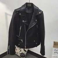 Spring Women's Fashion Slim Zip Pockets Genuine Sheepskin Leather Jackets Female American Style Motorcycle Casual Short Coats
