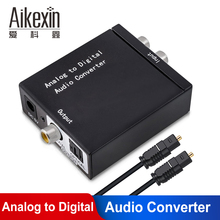 ADC Analog to digital Audio Converter RCA 3.5mm to Optical spdif Coaxial Fiber Toslink Adapter with Optical Cable new original fx2n 4da plc digital to analog converter