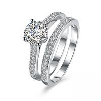 2019 Fashion Pure Silver color Crystal Double Ring Set for woman Men Rings Customized By Lovers For Ring Jewelry