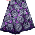 High quality African lace fabric for wedding 2017 Polyester Purple Sequins Organza African French lace fabric F4-308