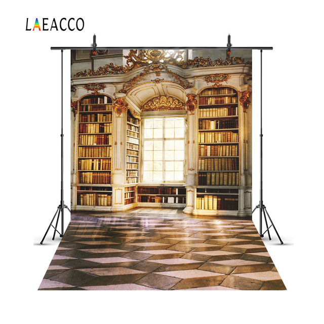 Laeacco Old Library Arch Bookshelf Plaid Floor Scene Photography Backgrounds Customized Photographic Backdrops For Photo Studio