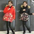 Floral Design Girls Winter Coats Cotton-Padded Clothes Fur Collar Hooded Long Down Jacket Kids Windbreaker Girls Outerwear TZ100