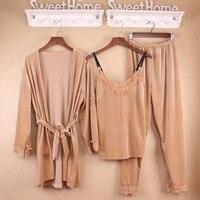 Winter Women Pajamas Sets Pleuche Nightgown + Robe + Pants 3 Pieces Suits Sexy Sleepwear Pijamas Mujer Plus Size XXL