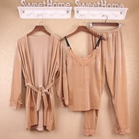 Winter Women Pajamas Sets Pleuche Nightgown + Robe + Pants 3 Pieces Suits Sexy Sleepwear Pijamas Mujer Plus Size XXL