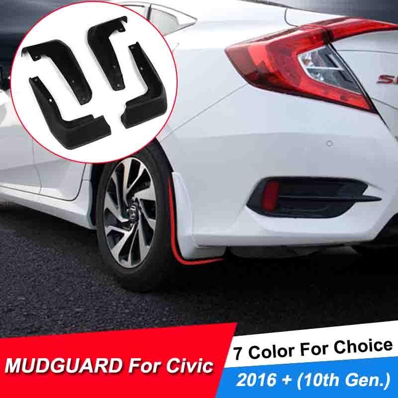 4pcs Car Mud Flap Splash Guard Fender For Honda Civic 10th 16 17 Sedan Mudguards