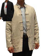 Beige Schwarz Reversible Zwei-gesicht Chinesischen männer Baumwolle Leinen Kung-fu-jacken-mantel Sml XL XXL XXXL Freies Verschiffen 2973-1