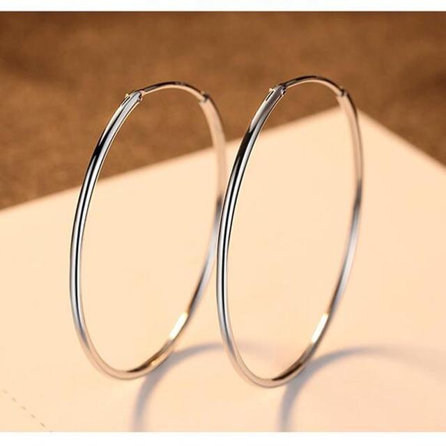 wholesale 925 Sterling silver simple big circle earrings!925 silver 50mm round hoop earrings jewelry,925 silver women's jewelry