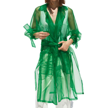 Summer 2019 casual lace-up womens clothes green trench coat
