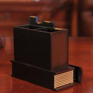 Image 4 - Multifonction rétro porte stylo en bois livre forme bois artisanat décor à la maison crayon boîte de rangement de bureau tiroirs porte papeterie Gi