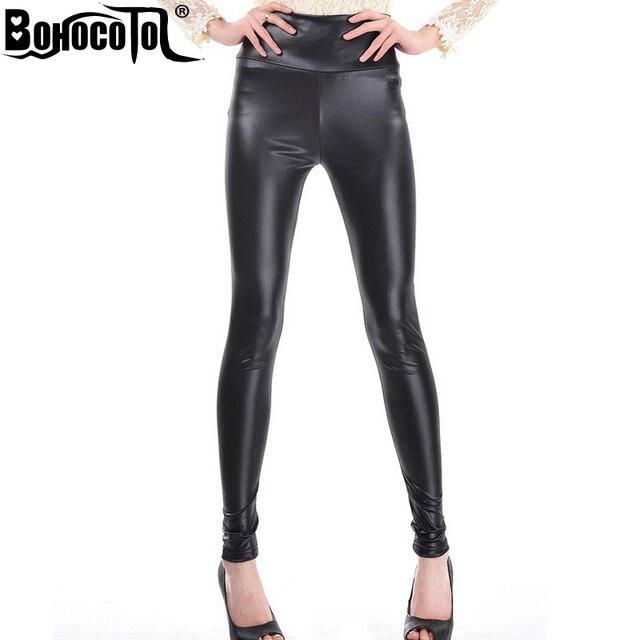4ab54a3ec8ed50 FREE shipping Women Shiny Metallic High Waist Pants Black Stretchy faux Leather  Leggings S/M/L/XL