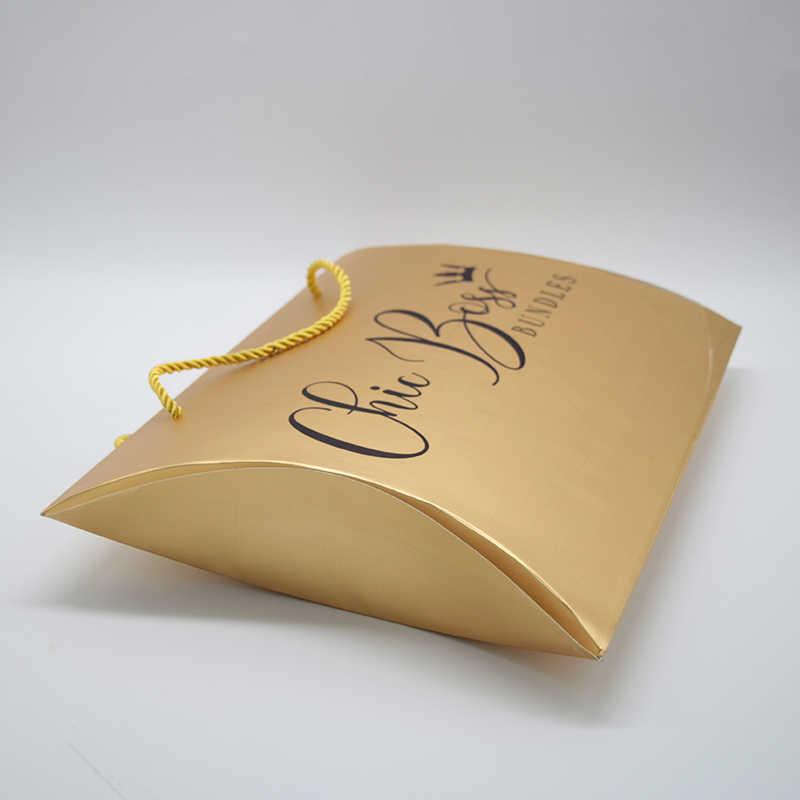 Custom Printing Logo Hair Packing Boxes Women Human Virgin Extensions Bundles Paper  Gold Color Hair or Gift Packaging Box