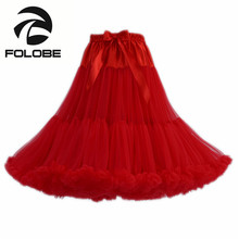 FOLOBE Red Dancewear Performance Skirt Ball Gown Tulle Tutu Skirt Knee Length Party Prom Adult tutu Faldas Saias Femininas