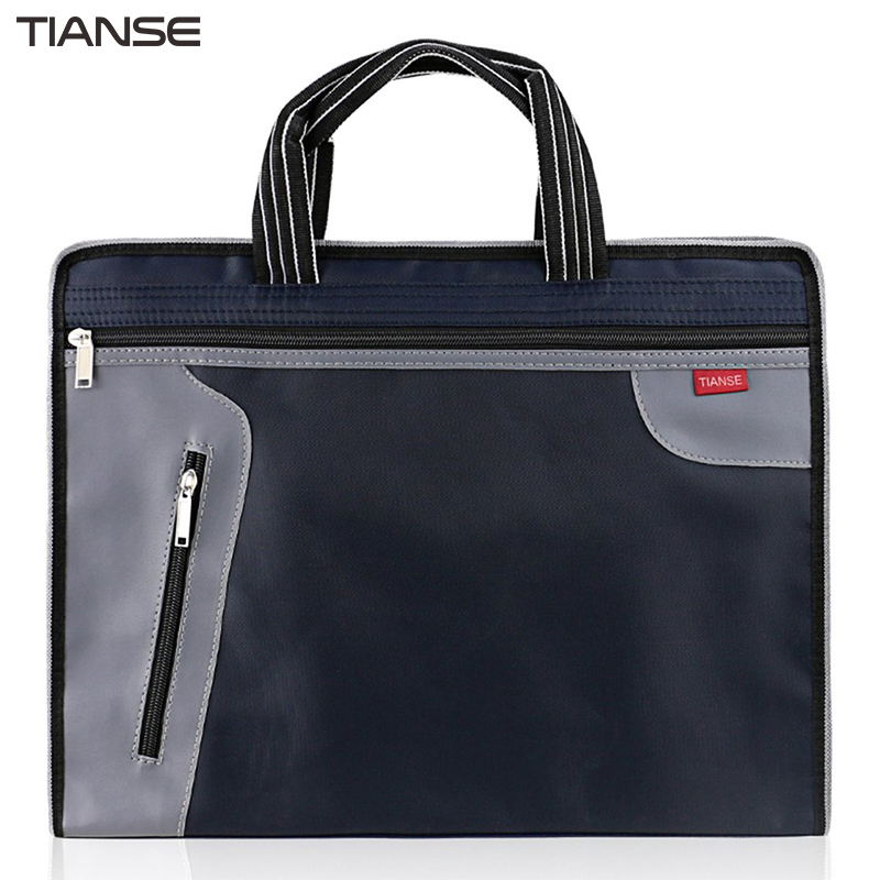 TIANSE Waterproof Durable Zipper Business File Documents Hand Bags Portable Large Capacity Several Layer Bag Supplies