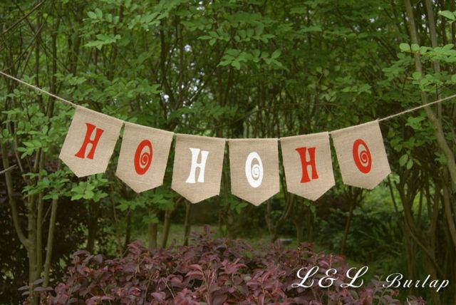 ho ho ho burlap banner christmas banner holiday banner christmas bunting - Burlap Christmas Banner