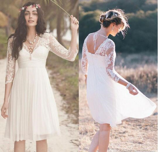 2016 New Fashion Sexy V ausschnitt Mini Hochzeitskleid Illusion ...