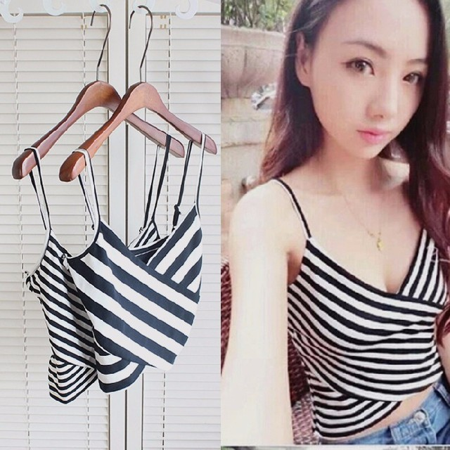 8d5a89822ec1b 2018 Stripe Sexy Women Crop Tops Striped Corsets Vest Camisole Tank Top  Summer Tie Tops Women s Clothing Omighty Bralette V Tees