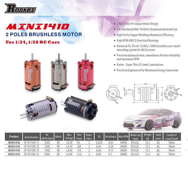 Superar HOBBY MINI 1410 2500KV 3500KV 5500KV 7500KV 9500KV Motor sin escobillas para Kyosho Mr03 Pro atómica DRZ 1/24 1/28 1/32 coche RC