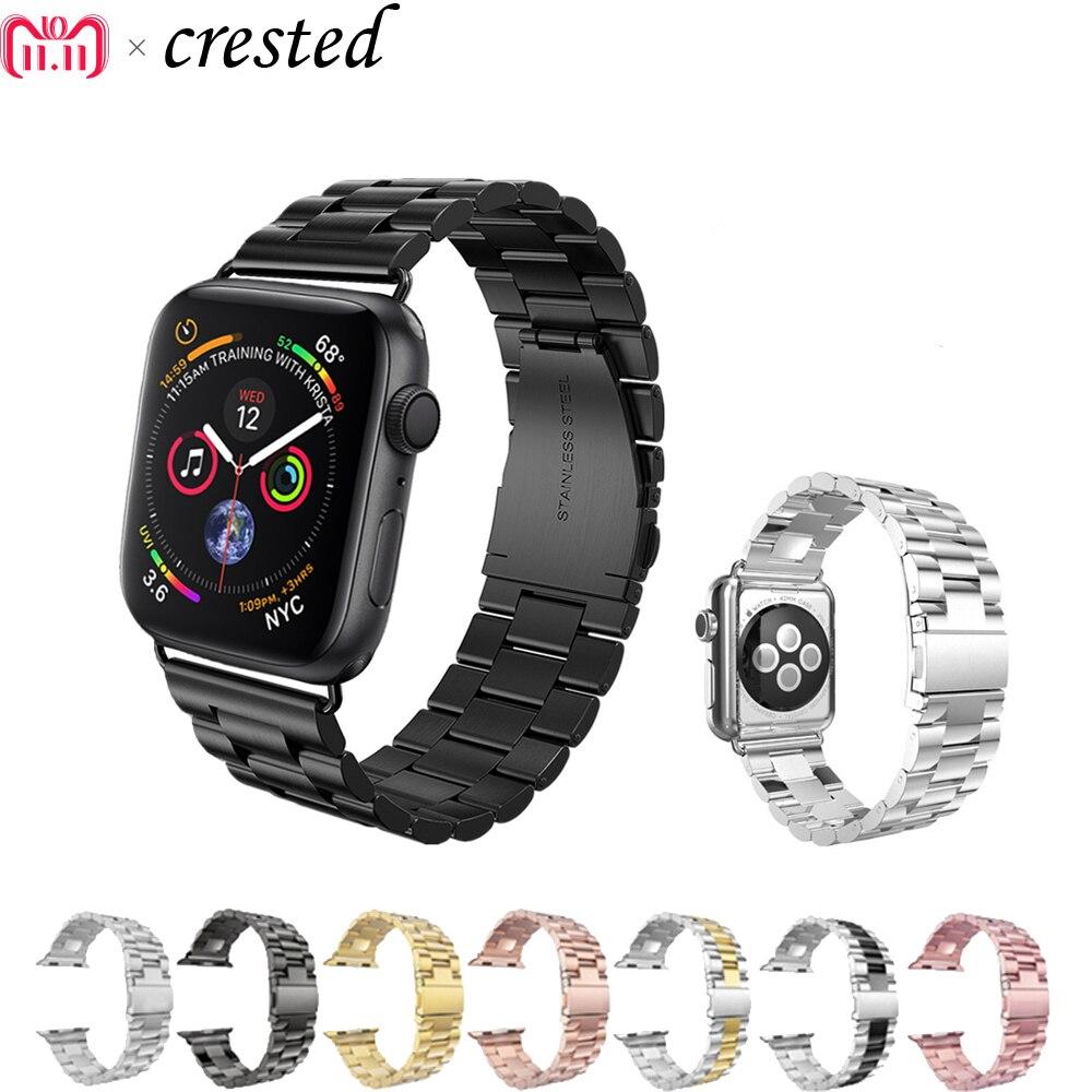 Correa de acero inoxidable de lujo para apple watch band 42mm/38mm/44mm/40 link pulsera correa de reloj para iWatch 4/3/2/1 metal