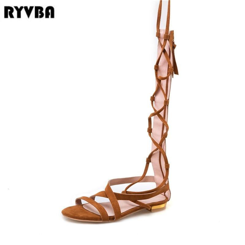 RYVBA 2018 womens knee high boots women flat thigh high summer sandalias woman nubuck flats sandals ladies corss tied shoes