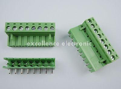 10 pcs 5.08mm Right Angle 8 pin Screw Terminal Block Connector Pluggable Green 40 pcs 5 08mm angle 10 pin screw terminal block connector pluggable type green
