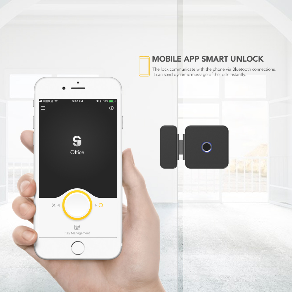 Image 2 - Sherlock fingerprint lock Smart Lock Glass Door Lock Office Keyless With Bluetooth APP Remote Control electronic door lock F1-in Electric Lock from Security & Protection