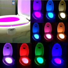 Newest Smart LED Toilet Bowl Night Light Human Motion Auto Sensor Activated Toilet Night Lamp Bathroom With 8 Color Toilet Night