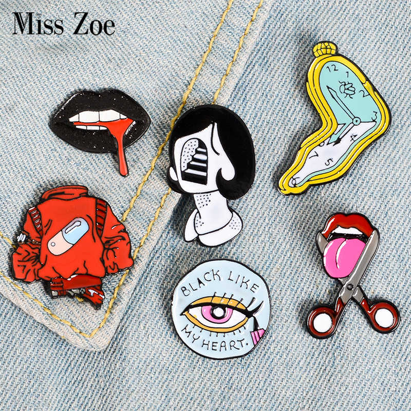 Pil Eyeliner Tong Lippen Emaille Pins Twisted Klok Meisje Broches Denim Shirt Revers Pin Zak Punk Cool Jewelry Gift Voor vrienden