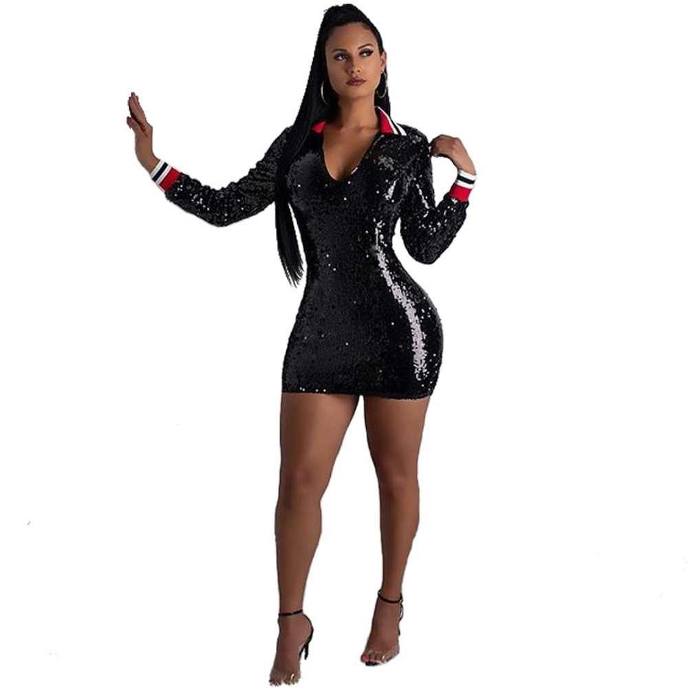 2018 Autumn Winter Women Dresses Mesh Sequined V-Neck Full Sleeve Fashion  Casual Sexy Bodycon 7eba3a6829fc