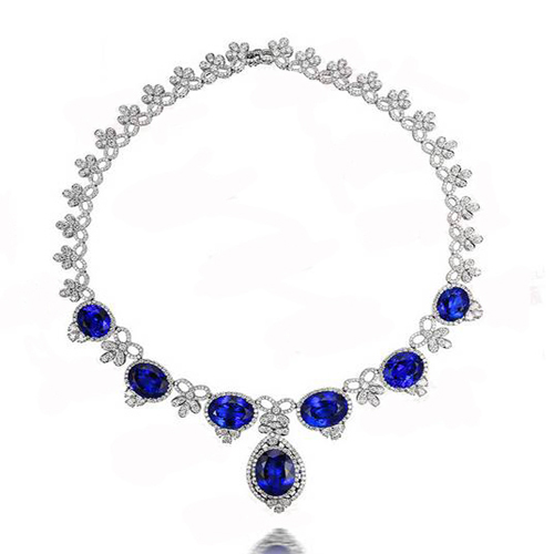 2017 Collares Collier Qi Xuan_Fashion Jewerly_AAA Blue Stone Necklaces_S925 Solid Silver Necklace_Manufacturer Directly Sales