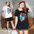 Sequin Rooster T-Shirt Women Plus Size Summer Short Sleeve Black White Tops 2017 Korean Kawaii Clothes Kpop Tees 6167-215