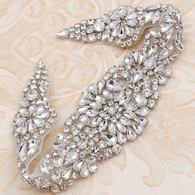 1 Pc Crystal Rhinestone Beaded Applique Bridal Belt Wedding Sash Applique Belt