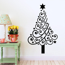 купить  Removable Christmas Tree Wall Stickers PVC Glass Mural Sticker Festive Home Decoration Pegatina de pared по цене 276.81 рублей