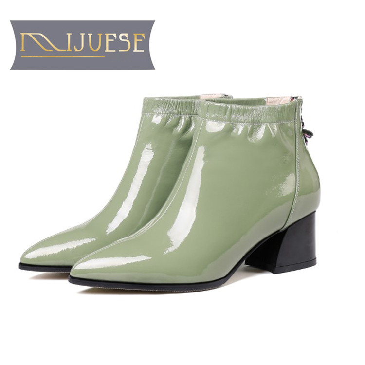 MLJUESE 2019 women ankle boots cow leather green color pointed toe winter short plush high heels motorcycle boots size 34-43 marulong s0002 women s fashionable flower pattern short sleeved nightdress green multi color