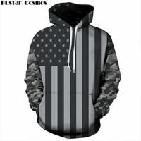 PLstar Cosmos USA Flag Hoodies Men Women 3d Sweatshirts Print Striped Stars America Flag Hooded Hoodies