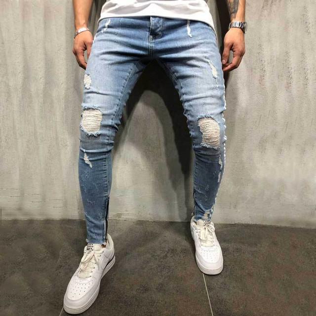 Men Stylish Ripped Jeans Pants Biker Slim Straight Hip Hop Frayed Denim Trousers New Fashion Skinny Jeans 2019 Men