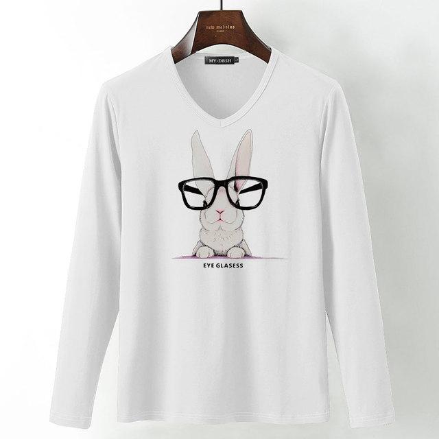 Camisetas de verano para Mujer, camiseta informal de algodón para hombre, Camiseta con estampado de dibujos animados de conejos y animales, Camisetas de manga larga con cuello en V para hombre