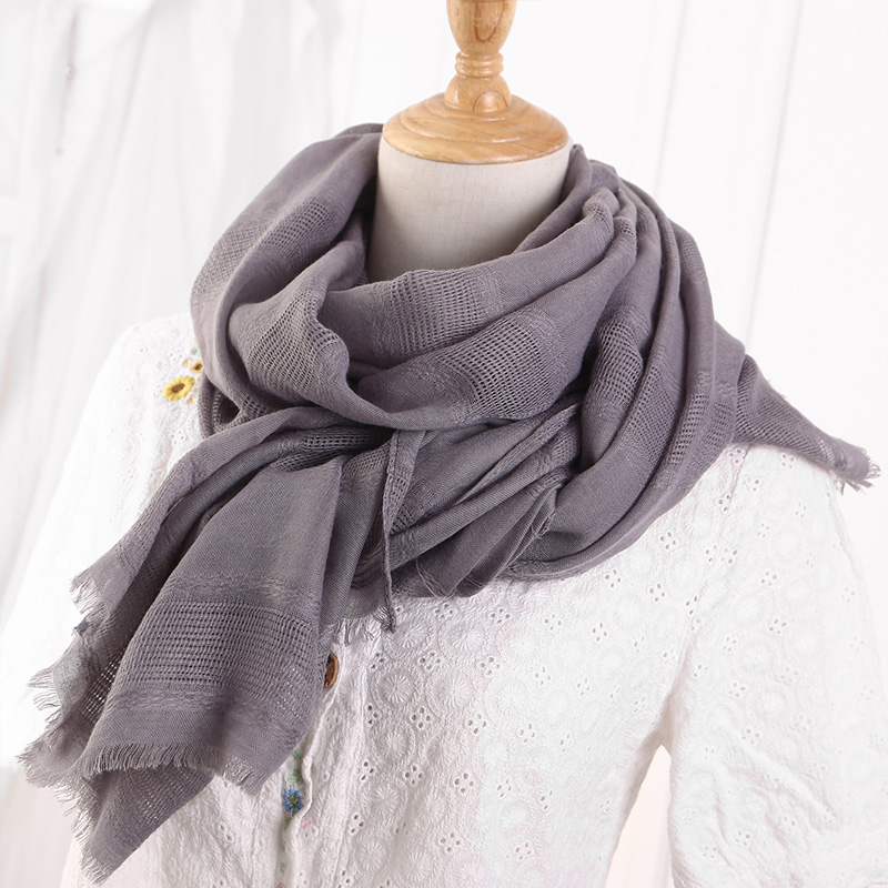 Image 2 - Solid Color Scarf Cotton Linen Ethic Hollow Cut Scarf Fringes  Large Wraps Stoles Muslim Hijabs Scarves Islam Wrap HijabWomens  Scarves