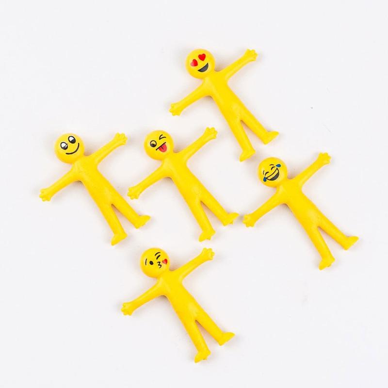 New Hot Selling Creative Soft Glue Small Yellow Doll Smiley Face Expression Can Stretch To Fold Office Ornaments Vent Toys