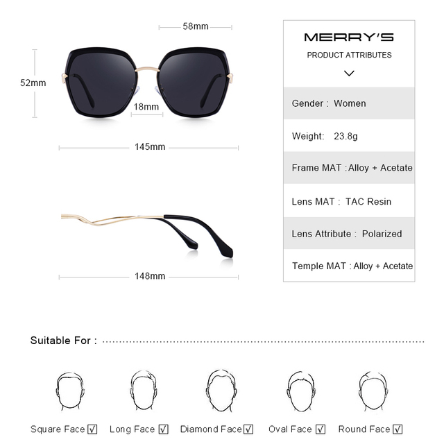 MERRYS DESIGN Women Fashion Cat Eye Polarized Sunglasses Ladies Luxury Brand Trending Sun glasses UV400 Protection S6238 Women's Glasses